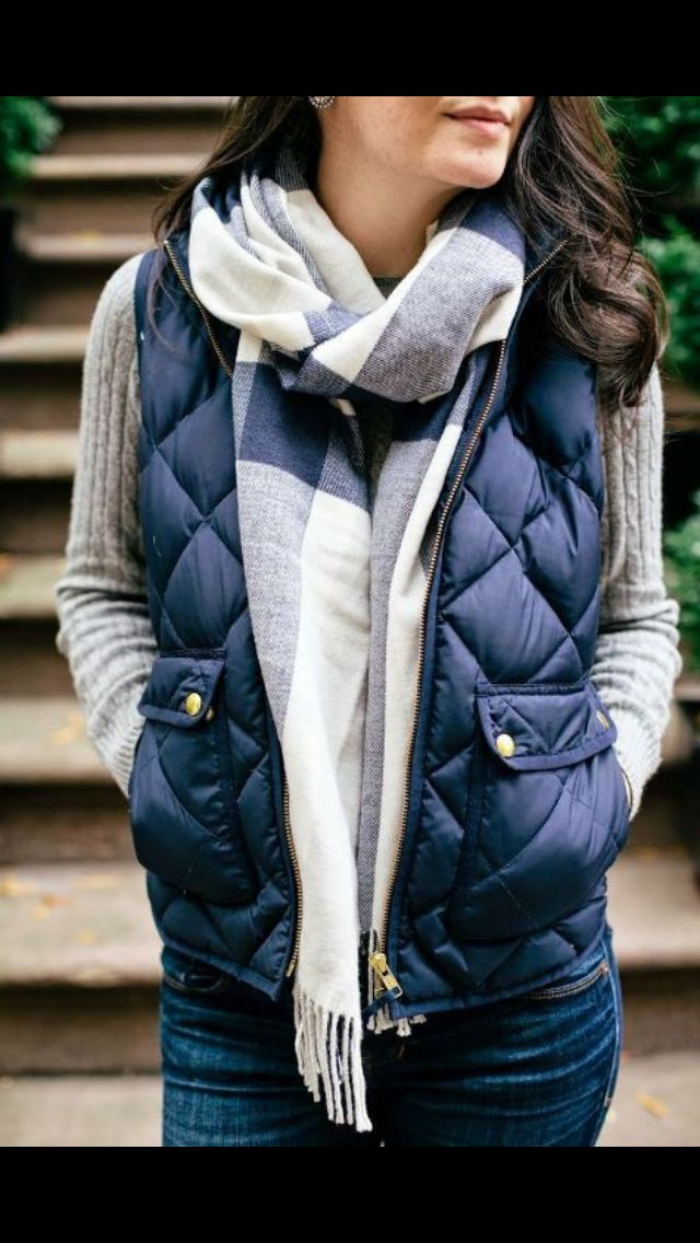 Blue puffer vest. Gray sweater. blue gray and white color block vest. Winter Fashion 2017 Stitch Fix