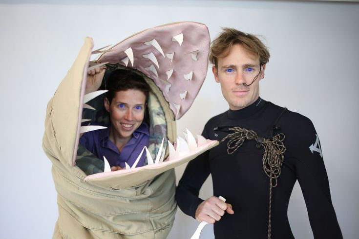 One of the most awesomely nerdy couples costume ever - Shai Hulud + Fremen Warrior