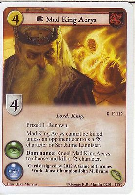 3 x Mad King Aerys AGoT LCG 1.0 Game of Thrones A Dire Message 112