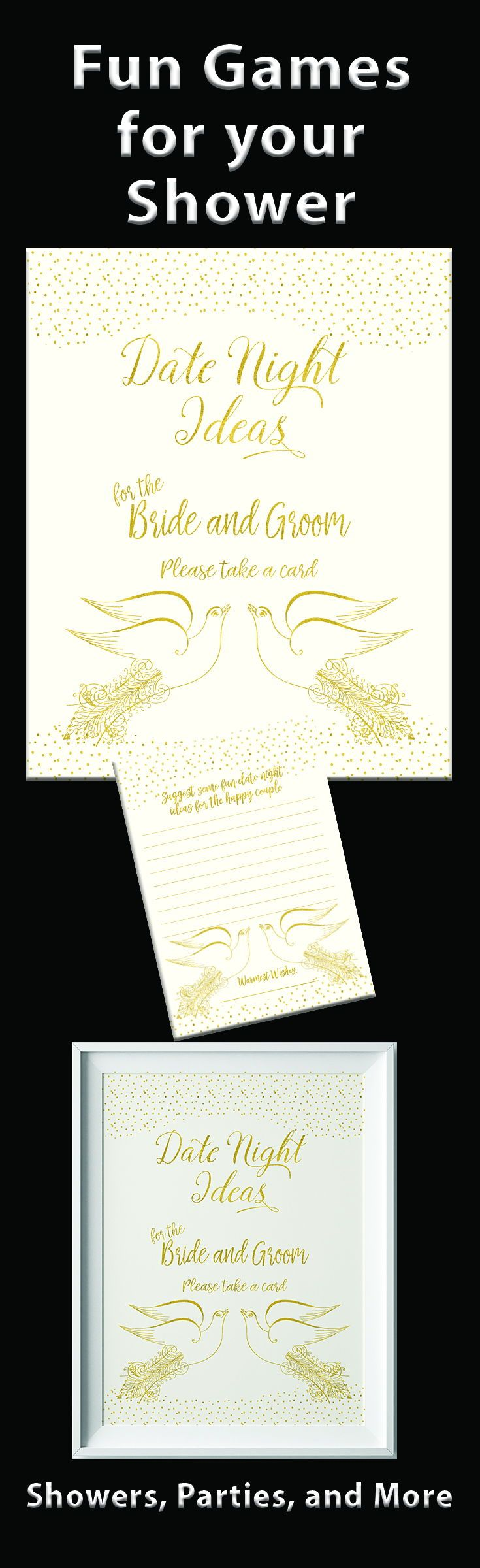 games to play at couples wedding shower%0A Date Night Ideas with vintage love birds  Printable gold sitting on a cream  background
