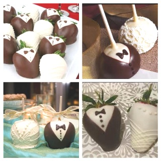 I want to do one of these as wedding favors for guests I think they are absolutely adorable! Chocolate covered strawberries, cake pops, or chocolate covered apples!