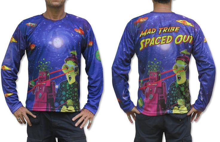 "Sublime L/S T : Spaced Out Fully printed long sleeve T shirt. This shirt is an ""All Over"" printed T shirt that will really grab people's attention. The design is printed using sublimation printing on a high quality polyester / Dri-Fit blended shirt. This allows for extremely vibrant colors that will never fade away no matter how many times it gets washed, & results in an extremely soft ""feel"" to the shirt, providing ultimate comfort. Fabric is 100% Polyester/Dri-fit. Artwork by Space Tribe"