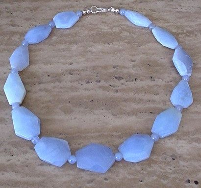 Blue Sky Chalcedony Flat Faceted Irregular Beads by camexinc