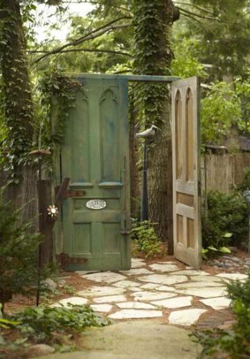 """Create a """"secret garden"""" by replacing your garden gate with oversized doors! 