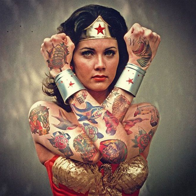 Spock and 13 Other Icons Covered in Tattoos, Because Photoshop | Lynda Carter as Wonder Woman   via Tumblr   | WIRED.com