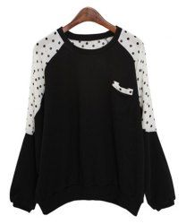 $7.46 Polka Dot Casual Style Scoop Neck Bat-Wing Sleeves Slimming T-shirt For Women