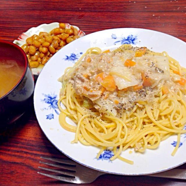 withばぁちゃんの甘い煮豆 - 2件のもぐもぐ - ツナと白菜のクリームパスタ by hitomisekijqv