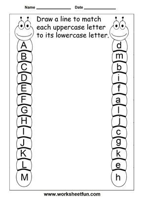 uppercase lowercase letters - 11 worksheets - 4 themes