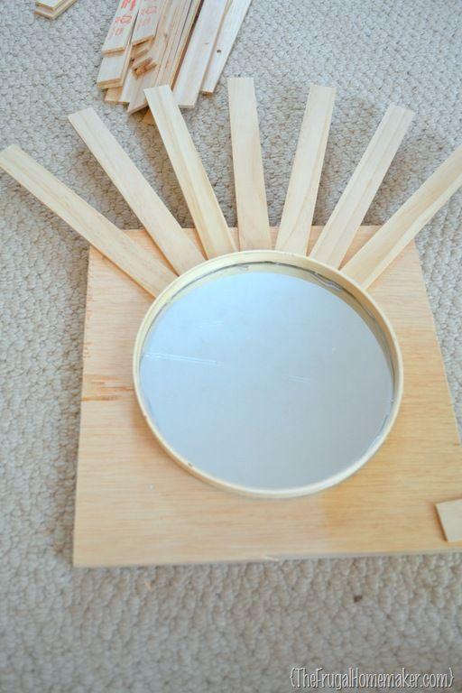 diy mirror art | DIY Sunburst Mirror {$4 wall art} | The Frugal Homemaker
