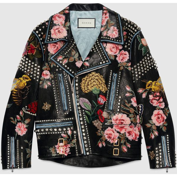 Gucci Hand-Painted Leather Biker Jacket (£7,440) ❤ liked on Polyvore featuring outerwear, jackets, black, womens ready to wear, leather motorcycle jacket, floral moto jacket, black leather jacket, studded leather jacket and leather biker jacket