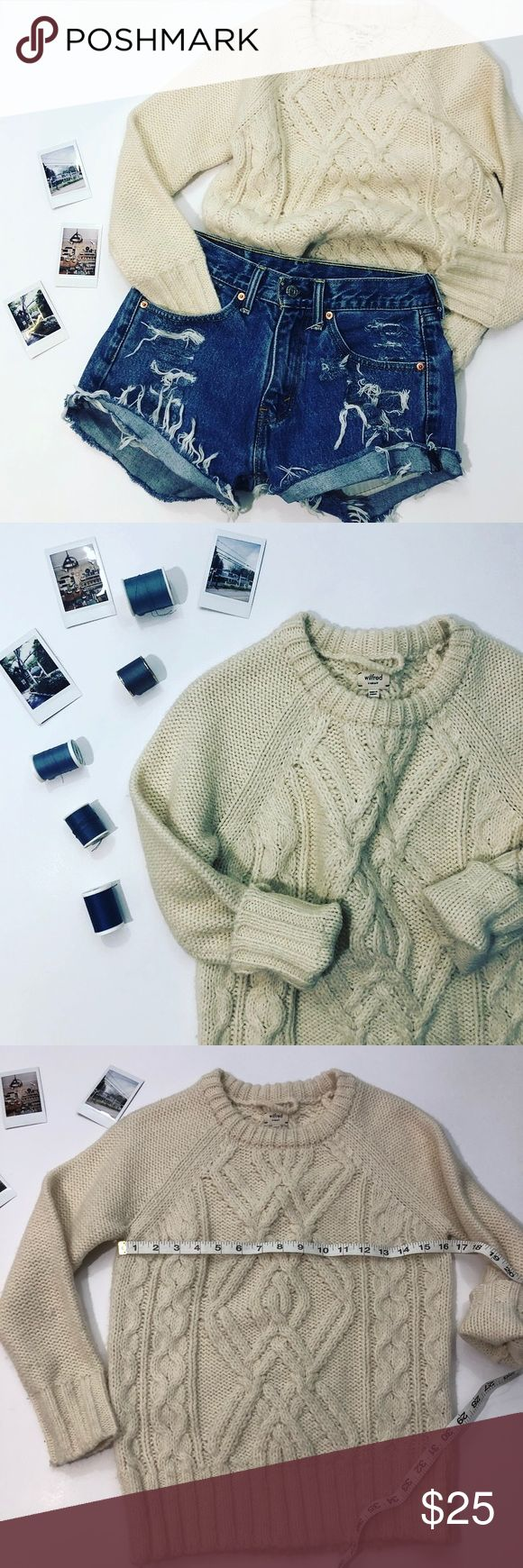 Wilfred cream cable knit sweater size xs Wilfred cream cable knit sweater size xs In good condition slight pilling  Yes yes I know winter is almost over but that doesn't mean you cant pair this with those vintage high waisted Levi shorts for that epic beach bonfire look ✨  Some stretch in sweater fits true to size  Any ? Please ask  I would love to accept your offer Wilfred Sweaters Crew & Scoop Necks