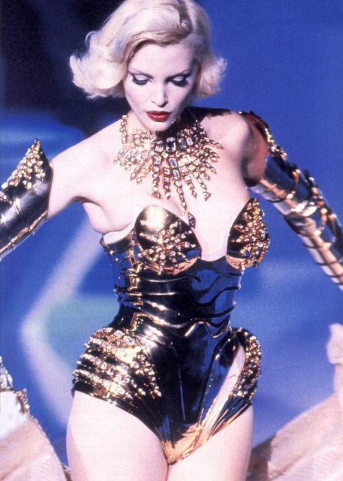 This glamour girl is wearing her armour; a Thierry Mugler corset....