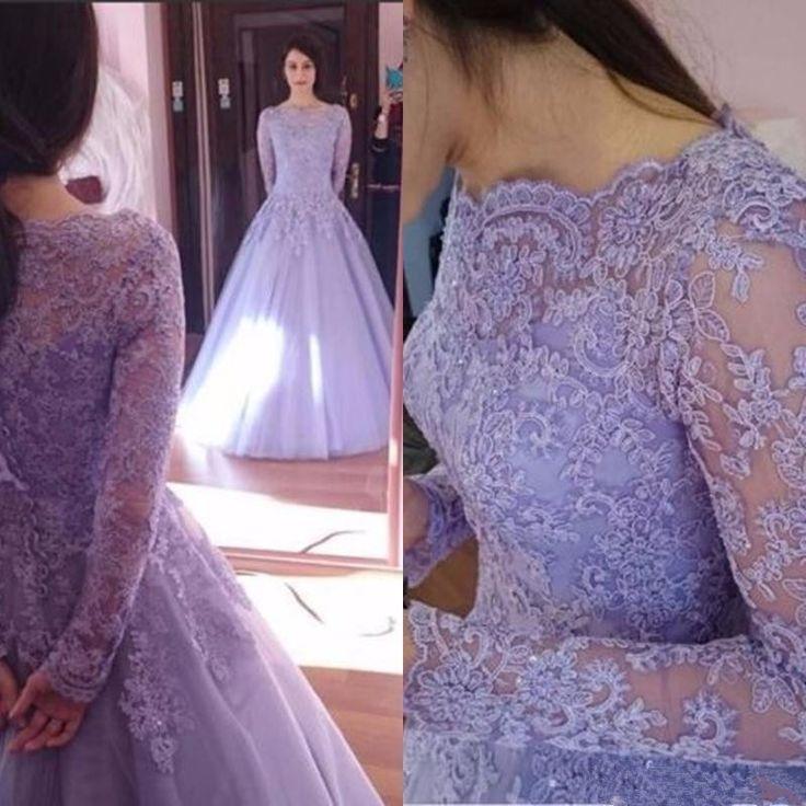 Elegant Bridal Dresses,Lavender Wedding Dresses,Scoop Wedding Dress,Tulle…
