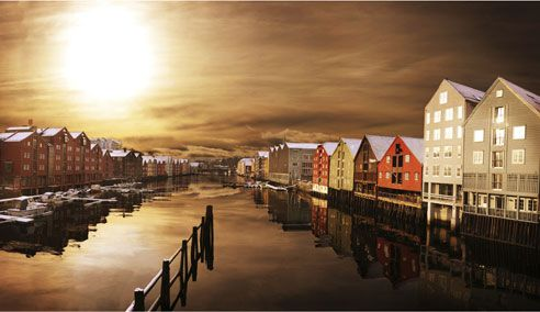 Trondheim, Norway.  In the land of the midnight sun. So pretty, but so cold...