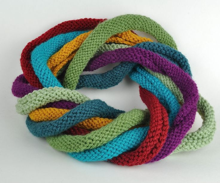 I may have to try this. Need it bigger arournd though. super easy knitted scarf . . . great for using up yarn bits!