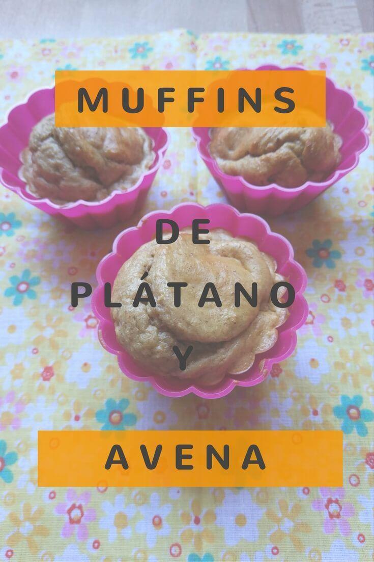 Muffins de plátano y avena, una receta que se termina en 20 minutos. Rápida y deliciosa. Sin azúcar y versión sin glúten.