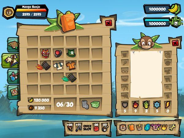 Monkey Quest - User Interface (UX/UI) by Eric Bellefeuille, via Behance