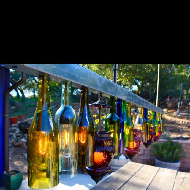 Wine bottle fence lights
