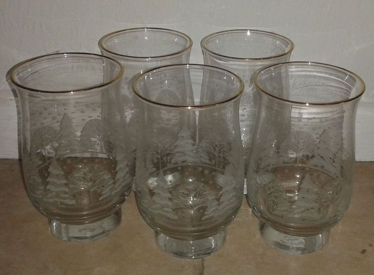 Arby's Libby Promo Gold Rimmed Etched Christmas Glasses 5 High Balls
