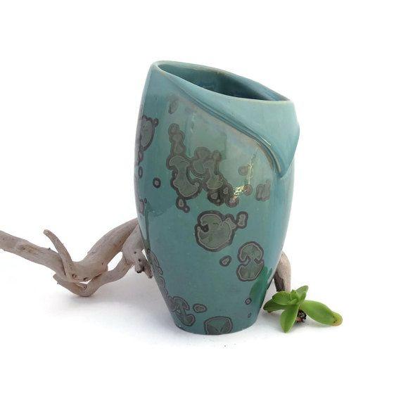 Green Crystal Glazed Vase Altered by SunbirdPottery on Etsy
