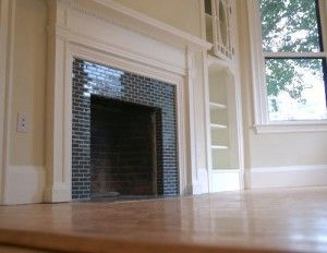 Black Subway Tile Fireplace