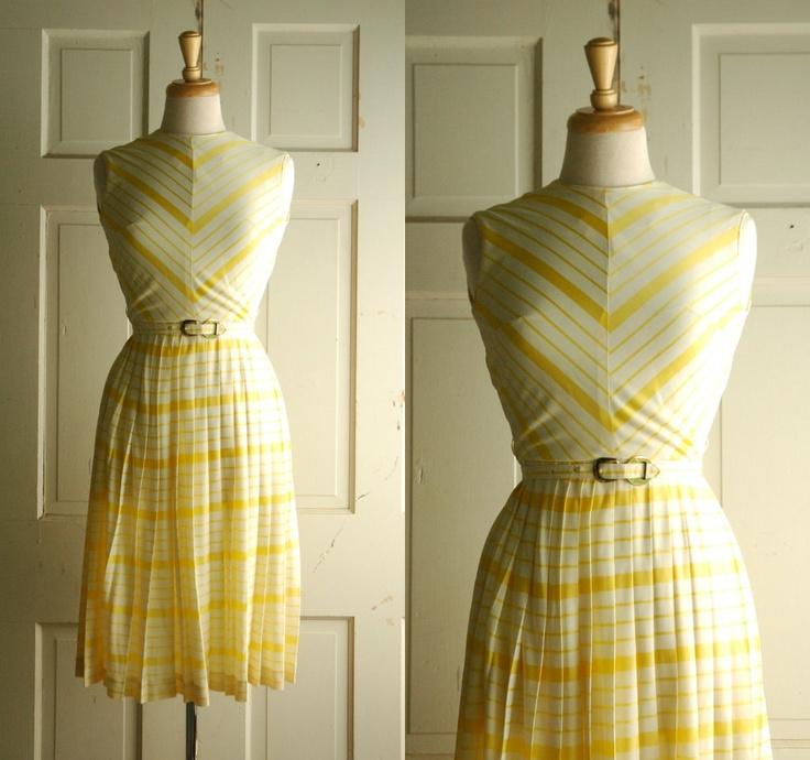 1960s Summer Dress / Sunburst Yellow Stripe Dress from DalenaVintage on Etsy.