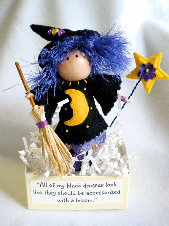 Clothespin Art Doll Witch  Purple Hair  by HeartStringsHandmade, $40.00