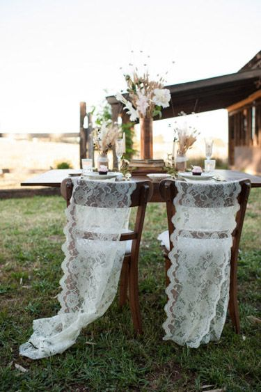 Bride and Groom Chair Decor Ideas: lace | Photo: Acres of Hope Photography