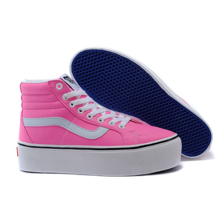 Vans Shoes Pink Platform Sk8-Hi Shoes Womens Classic Leather
