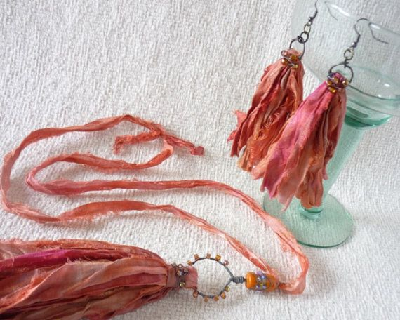 Tequila Sunrise Orange Sari Silk Tassel Necklace by ArtandJewelry Boho Chic Fall Jewelry! Inspired by Nature... fall leaves and pumpkins, Halloween and Thanksgiving, with a little bit of hippie, bohemian, gypsy and sort of sassy style!