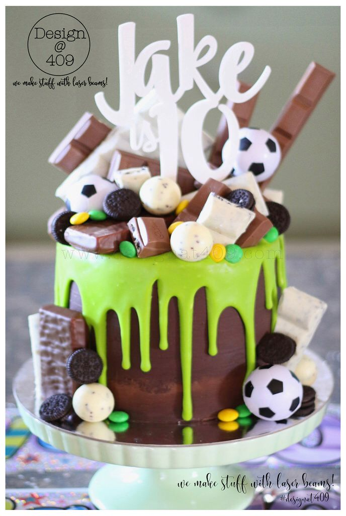 Chocolate & Green Drip Soccer Themed Cake With White Acrylic Jake Is 10 Cake Topper : Design @ 409