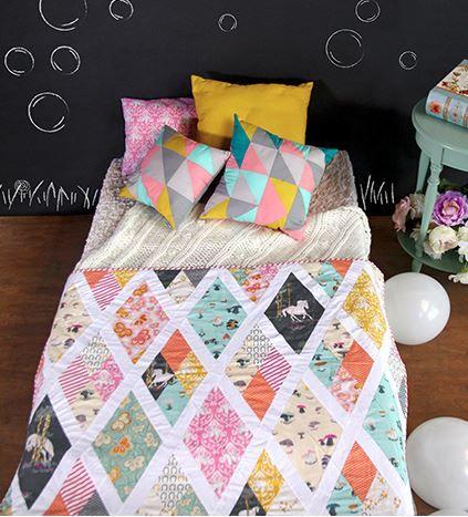 Sparkling Rhombi Quilt Kit, get this ready to make kit by Sara Lawson! #ArtGalleryFabrics #Sew #Stitch #Thread #Kit #DIY #Design #Craft #HowTo #Makeit #Quilt #Fashion