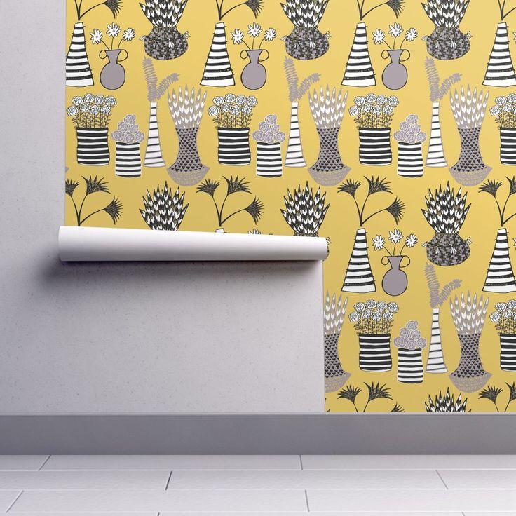 Isobar Durable Wallpaper featuring Flower Shelf by limezinniasdesign