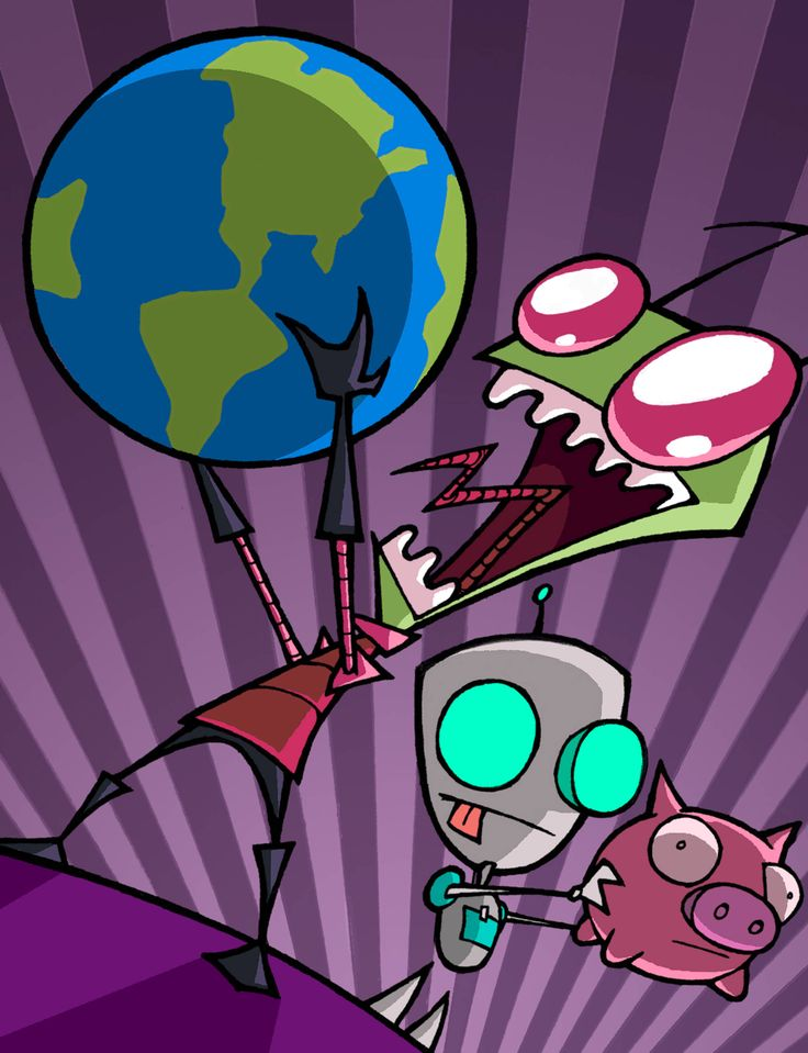 """Invader Zim - From the twisted mind of Jhonen Vasquez (of """"Johnny the Homicidal Maniac"""" fame) came this crazy show about an incompetent alien invader and his sidekick robot.  Flying pig spaceships, squeaky moose, sentient houses craving tacos, this show had it all! Click to watch the pilot :)"""