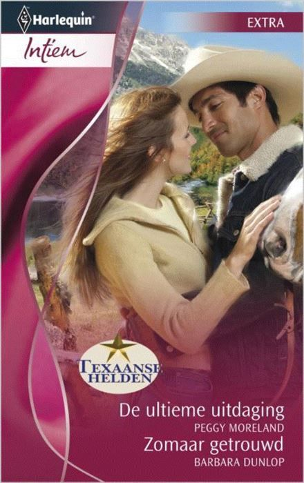 De ultieme uitdaging ; Zomaar getrouwd  (1) ULTIEME UITDAGING - Texaanse helden 5: Mandy heeft vanaf haar jeugd tevergeefs een oogje op de stoere rancher Jase. Wanneer ze terugkeert naar haar geboorteplaats vraagt Jase haar de nodige orde in zijn zaken te brengen. En daar blijft het niet bij: opeens wil hij haar ook in zijn bed. Maar past hij nog wel bij haar? (2) ZOMAAR GETROUWD - Een zogenaamde bruiloft in Las Vegas bedoeld als een grote grap blijkt opeens echt te zijn: zakenman Zach…