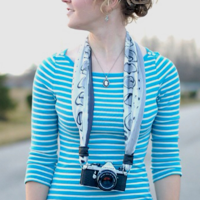 Make your own camera strap from a scarf.