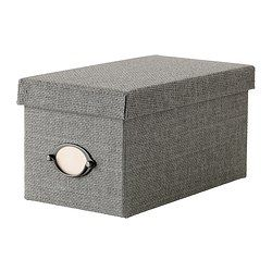 "KVARNVIK Box with lid - gray, 6 ¼x11 ½x6 "" - IKEA- Holds 26 CDs. Gonna need 20 of these."