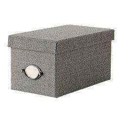 KVARNVIK Låda med lock, grå - grå - 16x29x15 cm - IKEA