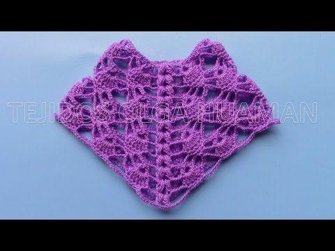 punto calado tejido a crochet para chal triangular - YouTube