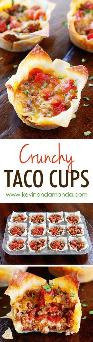 These fun�Crunchy Taco Cups are made in a muffin tin with wonton wrappers! �Great for a taco party/bar. Everyone can add their own ingredients and toppings! Crunchy, delicious, and fun to eat!
