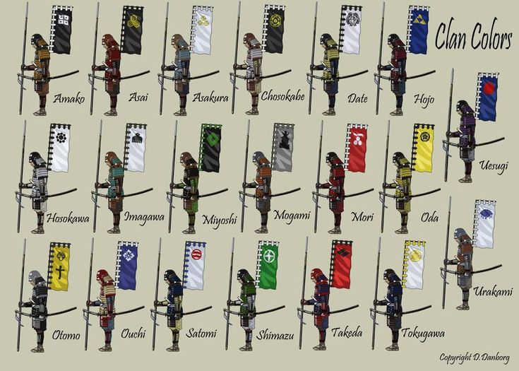 Samurai Clan Colors; don't know if this is any use, maybe not of your era, but interesting anyway.