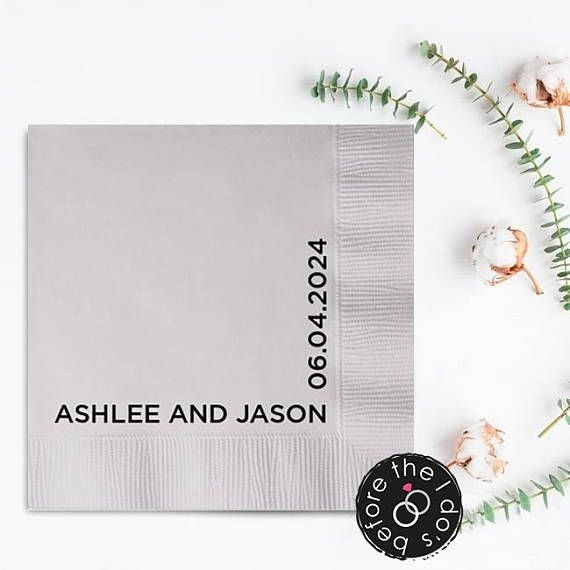 First Names and Date Personalized Wedding Napkins /// #beforetheidos #mrandmrs #wedding