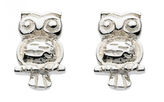 Small Sterling Silver Owl Stud Earrings by SilverButtercups