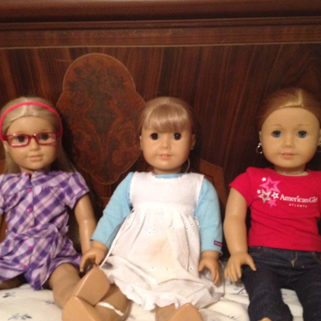 All my dolls from left to right: Julie Marie Albright (historical doll), Summer Mara-belle Hayes (MyAG #12 NOT Gwen) and Levi Sage Moore (MyAG #33)  P.S this is also in order I got them