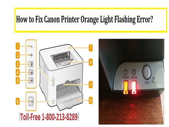 Read Blog about How to Fix Canon Printer Orange Light Flashing Error by Canon Printer Support Experts. Contact Canon Printer Customer Support Service Number 1-800-610-6962 to Fix Canon Printer Light Flashing Errors, Alarm Lamp Light Flashing Errors and canon printer power light flashing by Canon Printer Helpline.