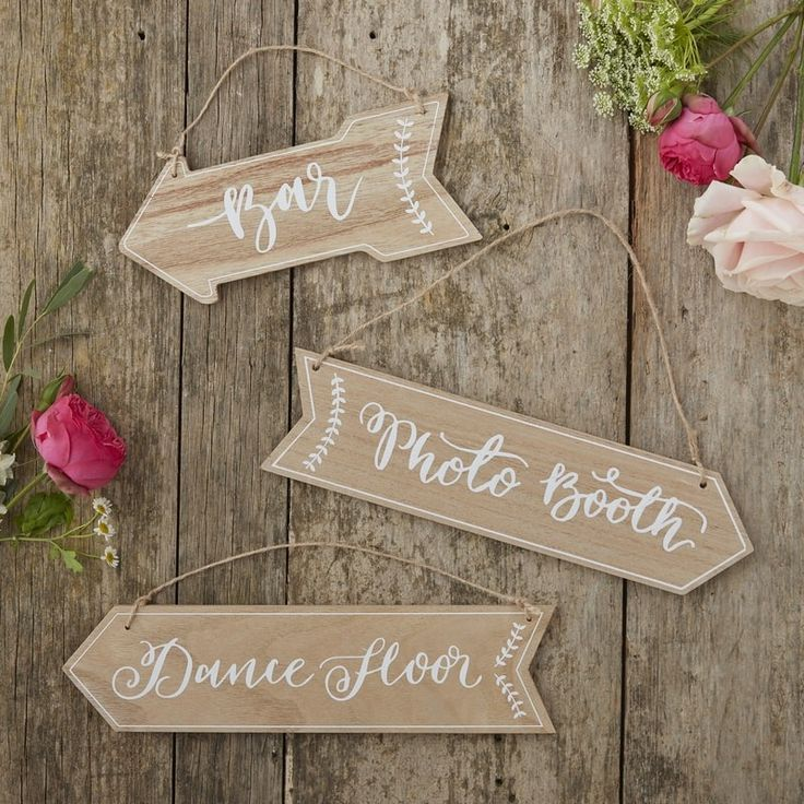Set of 3 Boho Wooden Event Signs now available at White Lace Partyware! Shop this set online now www.whitelacepartyware.com.au