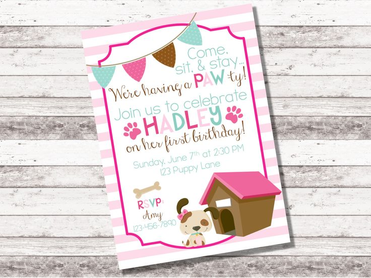 Girl's Puppy Birthday Invitation - 1st 2nd Birthday Invitation - Digital Invite - Puppy Theme Party - Girl Birthday Invite - Adopt a Puppy by MyLilSunshineShop on Etsy https://www.etsy.com/listing/230655297/girls-puppy-birthday-invitation-1st-2nd
