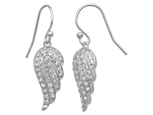 Synthetic White Sapphire Sterling Silver Fish Hook Angel Wings Earring