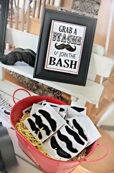 40th birthday party idea for men -- mustache bash adult birthday party ideas