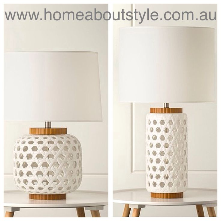 An intriguing sculptural  design with an open weave pattern and warm timber highlights. The dumont table lamp is sure to enhance any space. Complete with Australian made shade in your choice of colour. Short $375 Tall $329 www.homeaboutstyle.com.au  lamps @home_about_style #interiordesign #homedecor #tablelamps #lamps #homelighting #homedecorators #homedecoratingideas #whiteceramic #timberlights #latticepattern #australianmade #stylish #luxury #beautifulhomes #pickoftheday #homeaboutstyle